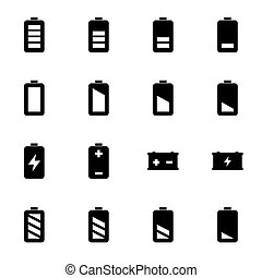 Vector black battery icons set