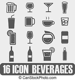 Vector black beer and beverage icons set on white background