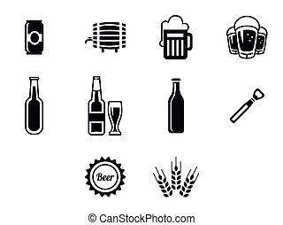 Vector black beer icons set.