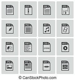 vector, black , bestand, type, iconen, set