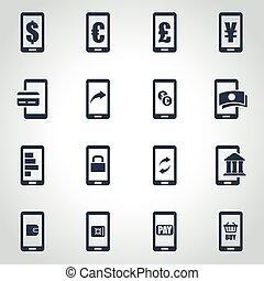 vector, black , beweeglijk, bankwezen, pictogram, set