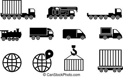 vector black big transportation icon set