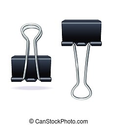 Vector black binder clip set - Vector illustration black...