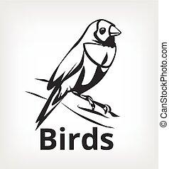 Vector black bird icon logo