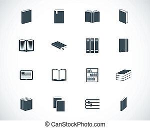 vector, black , boek, set, iconen