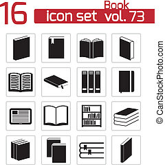 vector, black , boek, set, iconen