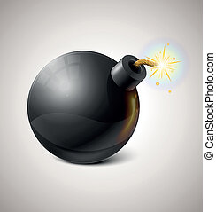 Vector Black Bomb Illustration