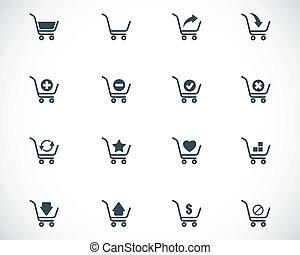 vector, black , boodschappenwagentje, iconen, set