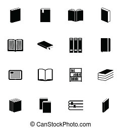 Vector black  book  icons set