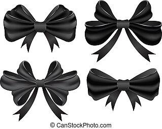 Vector black bow collection.