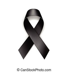 Vector Black Breast Cancer Ribbon Isolated on White Background