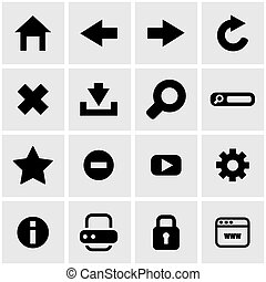 Vector black browser icon set