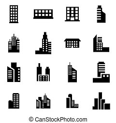 Vector black building icon set