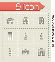 Vector black buildings icon set
