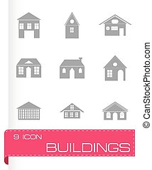 Vector black buildings icons set