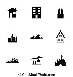 Vector black buildings icons set