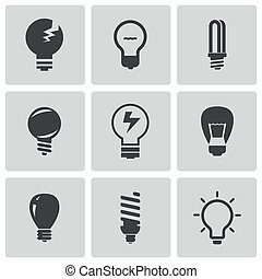 Vector black bulbs icons set on white background