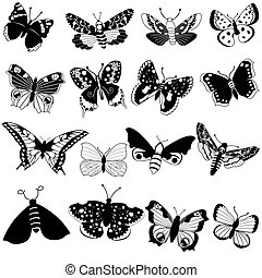 vector black butterflies