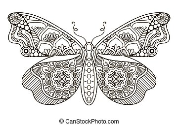 Vector black butterfly - Ornament beautiful card with...