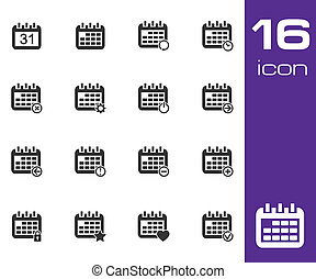 Vector black Calendar Icons on white background