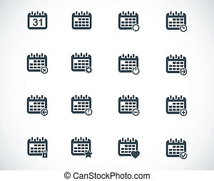 Vector black calendar; icons set