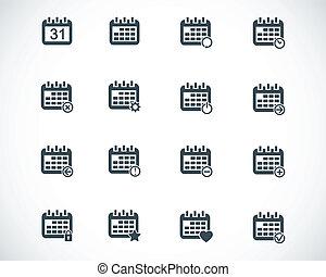 Vector black calendar; icons set