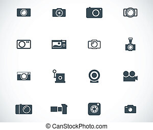 Vector black camera icons set