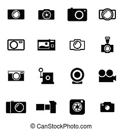 Vector black camera icons set
