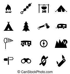 Vector black camping icon set