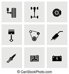 Vector black car parts icon set