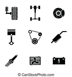 Vector black car parts icons set white background