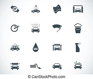 Vector black  car wash  icons set