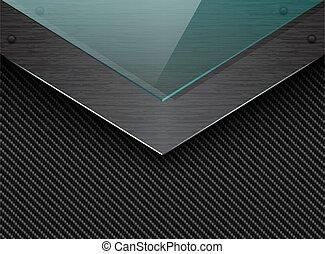 Vector black carbon fiber background with corner brushed metal plate and green transparent glass. Industrial elegant arrow design illustration