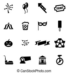 Vector black carnival icon set
