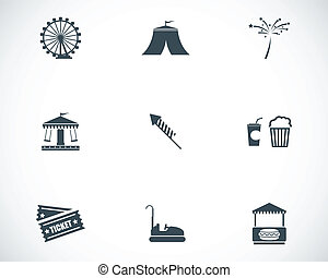 Vector black carnival icons set on white background