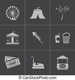 Vector black carnival icons set