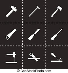 Vector black carpentry icon set