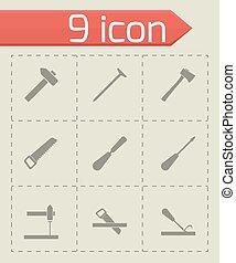 Vector black carpentry icon set