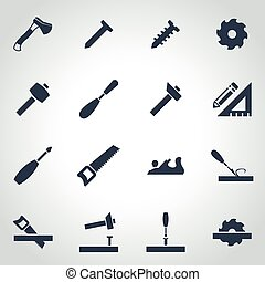 Vector black carpentry icon set on grey background