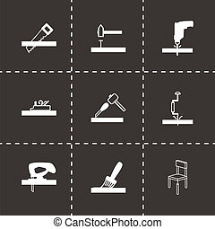 Vector black carpentry icons set on black background