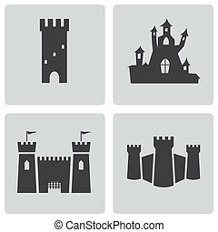 Vector black castle icons set on white background