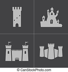 Vector black castle icons set on gray background