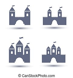 black castle icons set