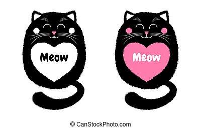 Vector Black Cat in Cartoon Style. 4