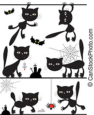 Vector black cats.