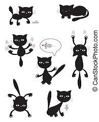 Vector black cats.