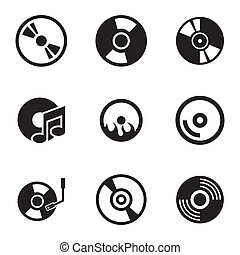 Vector black CD disk icons set on white background