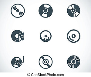 Vector black CD disk icons set on white background