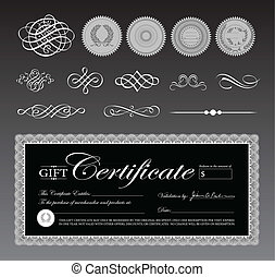 Vector Black Certificate Template and Ornaments