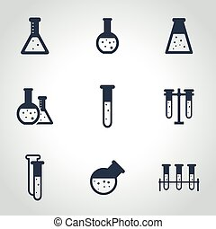 Vector black chemistry icon set
